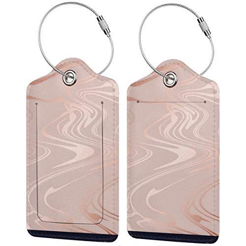 Rosa mármol rosa dorado textura elegante con etiquetas de equipaje de papel de aluminio para maleta, cariño, iniciales para bolsos con correas ajustables para viajes y negocios, 2 por juego
