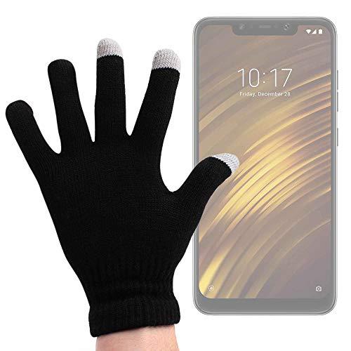 DURAGADGET Guantes Negros para Pantalla Táctil para Smartphone Xiaomi Mi 8 Lite, Xiaomi Mi 8 Pro, Xiaomi Pocophone F1 - Talla Mediana - ¡Ideales para El Invierno!