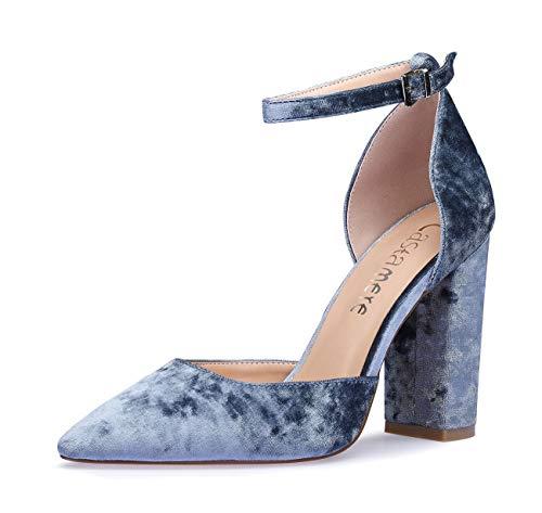 CASTAMERE Damen Ankle-Strap Sandalen Spitzen Zehen Rechteckig Blockabsatz Pumps 10CM Blau Samt Schuhe EU 40