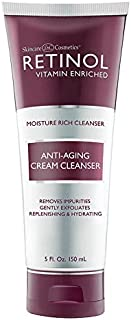 Retinol Anti-Aging Cream Cleanser – Daily Deep Cleansing Facial Wash Exfoliates to Improve Skin's Texture & Moisturizes for Cleaner, Softer Face – Renewing Vitamin A Minimizes Fine Lines & Wrinkles