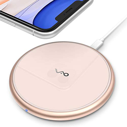 Fast Wireless Charger, Vebach Dubhe1s Qi Certified Wireless Charging Pad 7.5W Compatible iPhone 11/11 Pro/11 Pro Max/Xs/Xs Max/XR/X/8/8Plus, 10W Compatible Samsung Galaxy S10/S9/S9+S8, Aluminum Frame