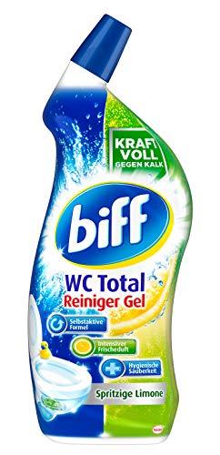 Biff WC Total Reiniger Gel Spritzige Limone, 1 x 750 ml, WC-Reiniger entfernt Kalk und Urinstein