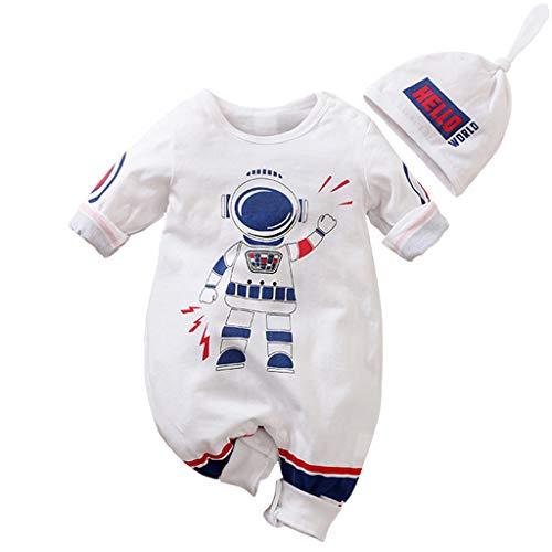 Bebé Mono de Manga Larga Mameluco de Algodón Peleles Infantil Body Lindo Pijama Ropa de Recien Nacido, 0-3 Meses