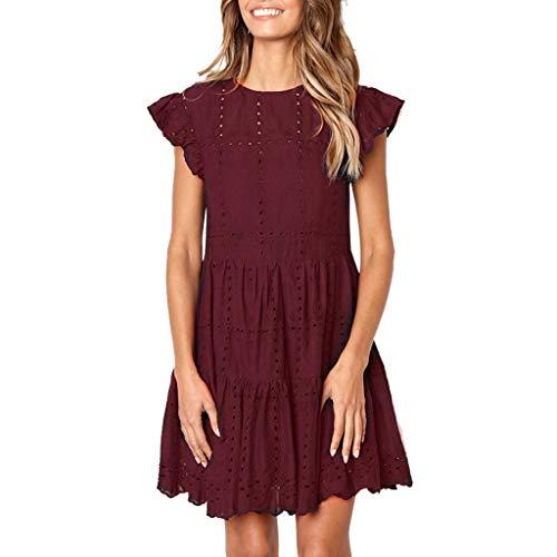 Kleid Damen Beiläufig Rüschen Ärmel O-Hals A-Linie Aushöhlen Geraffte Kleid