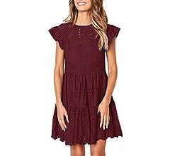 Shakumy Women Short Sleeve Ruffle Layer Mini Babydoll Dress Casual Loose Summer Short Dress Beach Tunic A-line Swing Dress