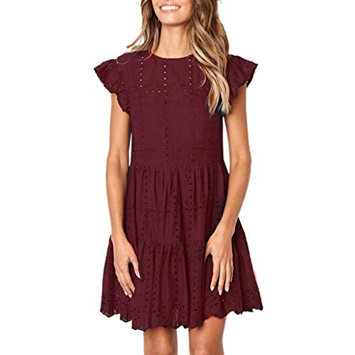 Kiyotoo Women Summer Tunic Dress V Neck Casual Loose Flowy Swing Shift Dresses Flowy Dress Ruffle Hollow Out A-Line Dress Wine