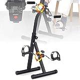 EFGSbed Mini Bicicleta de Ejercicio Portátil Casa Pedal, Bicicleta Estática para el Hogar con Monitor LCD, Nivel Ajustable de Altura y Resistencia para Adultos Mayores