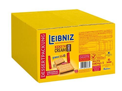 Leibniz Keks'n Cream Choco einzeln verpackt - 96er Pack - zwei original Butterkekse mit Kakaocremefüllung - leckeres Dessert - Vorratskarton (96 x 19 g)