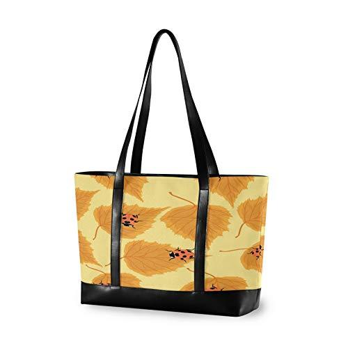 Mariquitas, hojas de abedul, para mujer, de lona, bolso de hombro, asa superior, bolso de gran capacidad, bolsa para ordenador portátil, bolsa para tableta (35,6 x 11,8 x 28,9 cm)