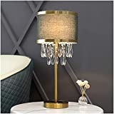 okuya Lámparas de sala de estar Moderno Metal Lámpara de mesa deco Columna Lámparas de cristal Lámpara de escritorio de noche con tapa de tela con tablero de tela for dormitorios (Color:Verde) Lámpara