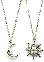 Ziper Moon and Sun Friendship Pendant Necklace BFF Jewelry Necklaces,gift for women sun charm