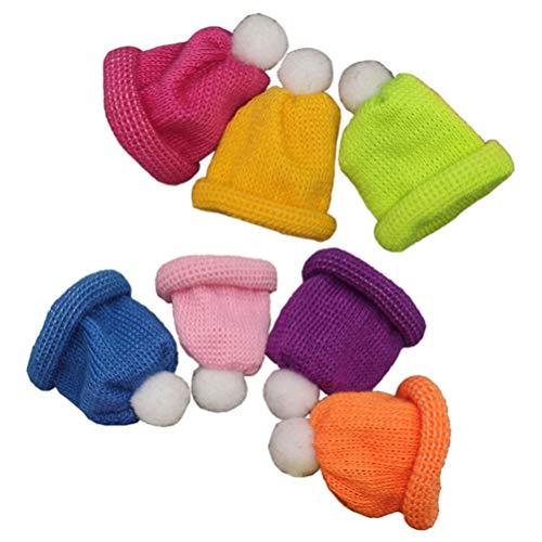 ABOOFAN 7Pcs Navidad Mini Sombrero de Punto Sombrero de Muñeca Navidad Vino Topper Cubre Sombrero de Santa en Miniatura Artesanía de Bricolaje Fabricación de Joyas (Color Mezclado)