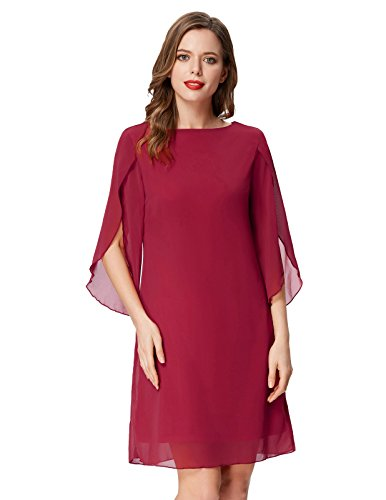 Casual Shift Dress for Women with Sleeve Cocktail Chiffon Dress Red XXL