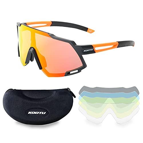 SAVADECK Gafas de sol polarizadas antichoque UV400, gafas de sol para bicicleta, 5 lentes, para deportes al aire libre, ciclismo, motocicleta, correr, pesca, golf (naranja)