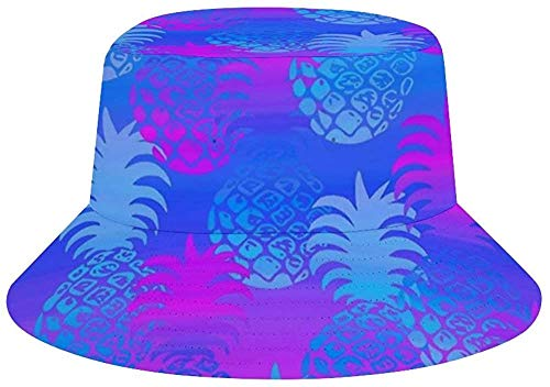 NA Unisex Cool Bucket Hat Beach Sun Hat Black and White Crow, Hombre, Ananas blu e viola., talla única