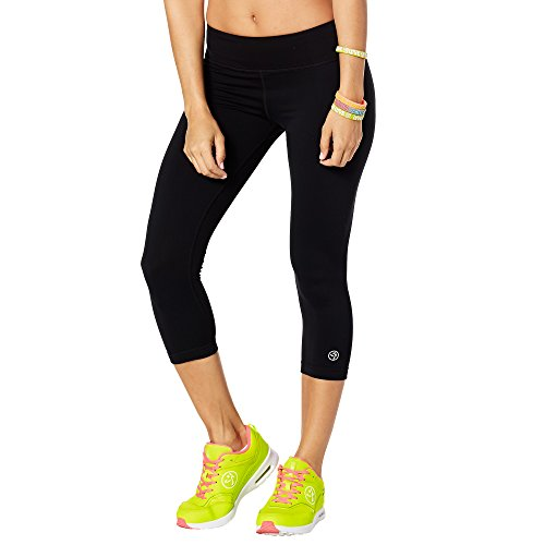 Zumba Dance Fitness Compression Pants Basic Capri Workout Leggings for Women Black