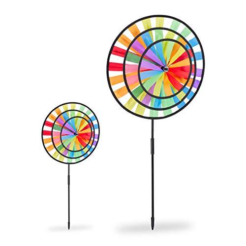Relaxdays 2 x Windrad, Gartenstecker im Regenbogen Design, Kinder, für Balkon oder Terrasse, HxBxT: 73,5 x 35,5 x 15 cm, bunt