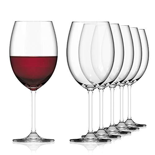 SAHM Juego de 6 copas de vino tinto grandes de 580 ml, copas de vino tinto, aptas para lavavajillas