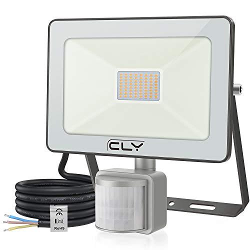 CLV 35W Faretto con Sensore de Movimento,3500 LM Faretto LED da Esterno con PIR Sensore di Movimento 3000K,Faro Impermeabile IP66 per Giardino, Terrazza, Patio[Classe di efficienza energetica A++]