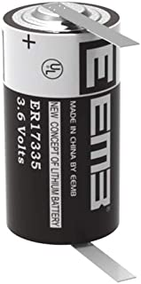 EEMB 3.6 V 2/3A Lithium Battery with Tabs ER17335 2100mAh High Capacity Li-SOCl2 3.6Volt Lithium Thionyl Chloride Batteries Non Rechargeable UL Certified (1 Pack)
