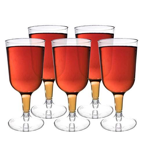 48 Piezas Copas de Vino de Plástico, Transparente 180 ml - Copas de Vino de Fiesta - Elegante, Resistente y Reutilizable.