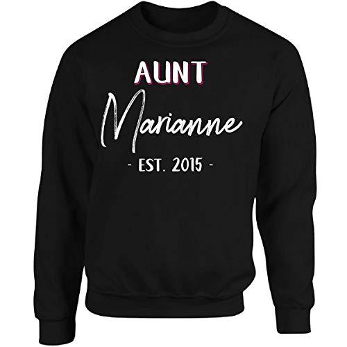 Aunt Marianne Est. 2015 New Auntie Gift Announcement - Sudadera para adulto, Negro, Large