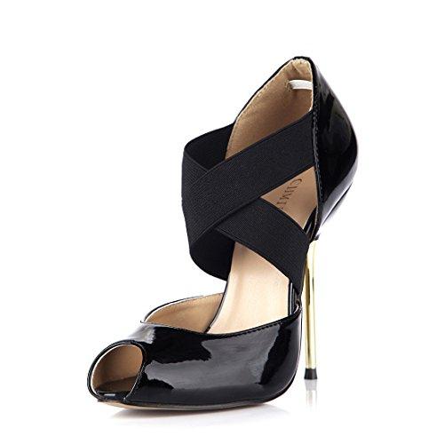 CHMILE CHAU-Zapatos para Mujer-Bombas de Tacon Alto de Aguja-Talón Metálico -Talón Delgado-Sexy-Moda-Vestido de Fiesta-Punta Abierta-Cordón elástico