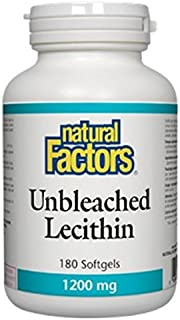 Natural Factors - Unbleached Lecithin 1200mg, Supports Emulsification of Dietary Fats, 180 Soft Gels