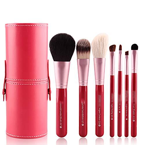 Pinceaux 6 Pcs Pinceau De Maquillage Ensemble Et Cas, La Poudre Pinceau Biseauté Contour Kabuki Pinceau Fard À Paupières Blending Pinceau Fond De Teint,Rouge