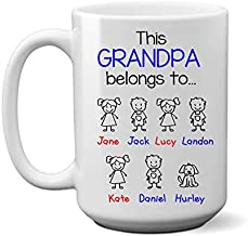 Grandpa Belongs to. Coffee Mug, CUSTOM names, personalized from Grandkids