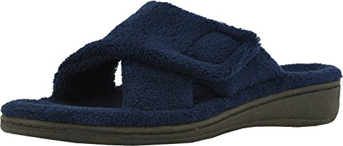 Vionic Women's Indulge Relax Slipper - Ladies Comfortable Cozy Adjustable House Slippers with Concealed Orthotic Arch Support Navy 9 Medium US