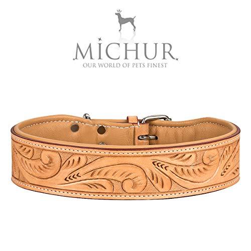 MICHUR Felipe Hundehalsband Leder, Lederhalsband Hund, Halsband, Leder, Caramel, Beige, Braun, MIT STANZUNGEN, in verschiedenen Größen erhältlich