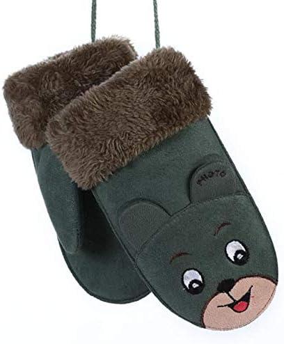 ChenKe 2018 Wool Lovely Cartoon Children's Gloves Winter Warm Soft Frabic Gloves for Kids Rope Boys Girls Mittens - (Color: 101G-Green, Gloves Size: Children Gloves)