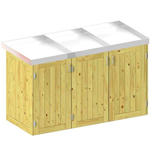 BINTO Holz Mülltonnenbox System 3P - für drei Mülltonnen inkl. Pflanzschalen - 5109
