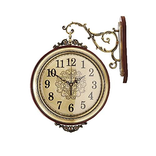 Reloj de Pared Vintage Pequeño, Reloj de Pared de Doble Cara, Redondo Metal Retro Silencioso No-Ticking Fáciles de Leer Funciona con Pilas Decoración para Salon Jardín Interior y Exterior Oro-B
