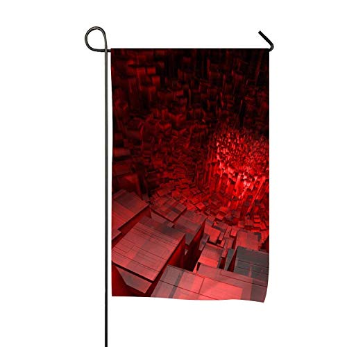Abstract Red Digital Art 3D Garden Flag| Double-Sided Yard Flag to Brighten Up Your Home 12.5'x 18'