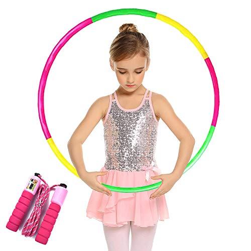 Hoola Hoops for Kids Toy - Adjustable Lighted Hoola Hoop - Colorful Plastic Toy Hoola Hoop with Present Kids Jump Rope Fitness Hoola Hoops Skipping Rope - Detachable Design