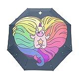 Unicornio Bueno Cielo Estrellado Colorido Paraguas Plegable Hombre Automático Abrir y Cerrar Antiviento Ligero Compacto Paraguas para Viajes Playa Mujeres Niños Niñas