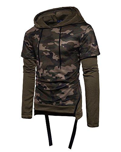 Sweat À Capuche Manches Longues Casual Hoodie Camouflage Pull Over Sweat-Shirt Hauts Veste Pour Homme Vert Armée S