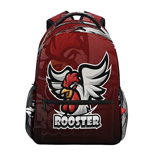 Cute Rooster Chicken Cock Backpack School Bookbag Travel Shoulder Laptop Bag for Womens Mens