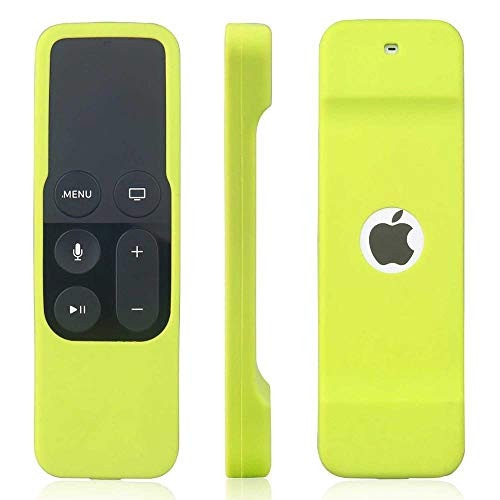 Ellenne Custodia Silicone Protettiva Telecomando Cover Slim Compatibile per Apple TV 4a Gen. (Verde Acido)