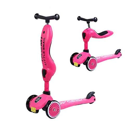 WJJ Patinetes para Niños Niños Scooter Tabla de flotación Triciclo 2en1 3 etapas Ajustable 1-5 años de Edad, Regalo Brillante Ruedas for los niños Lactantes (Color : Pink)