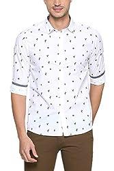 People Mens Printed Slim Fit Casual Shirt