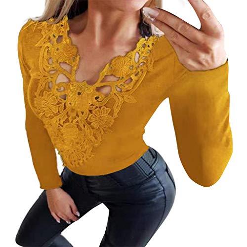 TUDUZ-Damen Womens Brief Langarm Splice Pullover Kapuzenpullover Kurze Oberteile Bluse Abendkleider Brautkleider(Gelb,XX-Large)