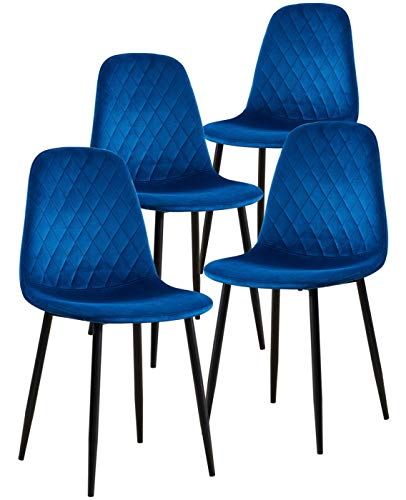 SHOWVISION Set of 4 Velvet Kitchen Dining Chairs, Upholstered Seat Diamond Stitched Cushioned Backrest, Black Metal Legs Accent Chair for Home Living Room Lounge Bedroom Cafe Restaurant (Blue,4pcs)