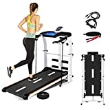 Folding Shock Running Treadmill, Supine, T-wisting, Draw Rope 4-in-1 Mechanical Treadmill,Non-Electric Treadmill, no Power, Mechanical Walking Machine