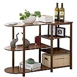 シンプルさ 竹サイドテーブルコーヒーテーブルストレージサイドボードティーテーブルリビングルームスモールアパートソファ100X37X77cmラックレイヤードコンパートメントワインラック MXJ61