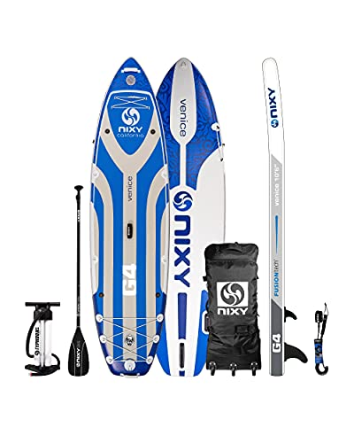 NIXY Venice Inflatable Stand Up Paddle Board- Premium Cruiser SUP, Durable & Lightweight 10′6″ x 34″ x 6″ iSUP, Travel Bag, Carbon Hybrid Paddle, Hand Pump, Leash & More