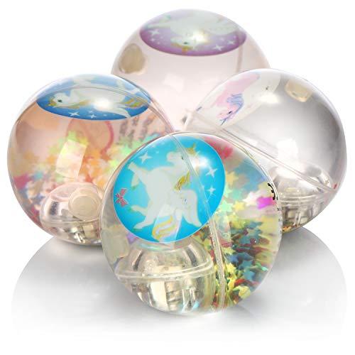 com-four® 4X Bola de Rebote iluminada por LED con Motivos de Brillo y Unicornio - Bola de Rebote Brillante para Jugar con [la selección varía] (04 Piezas - Unicornio)