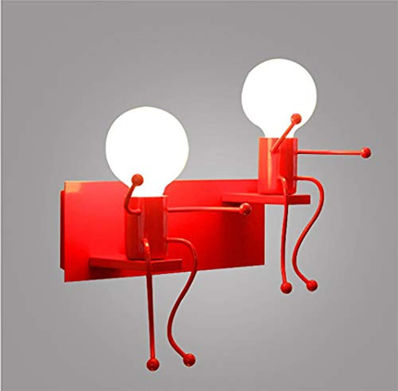 Wandleuchte Kreative Design Wandleuchte Innen Dekorative Lampe Eisen Metall Wandleuchte für Kinder Schlafzimmer Wohnzimmer treppe,rot,2heads